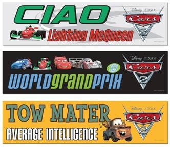 CARS 2 bumper stickers
