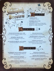 New Fantasyland Preview Event Menu