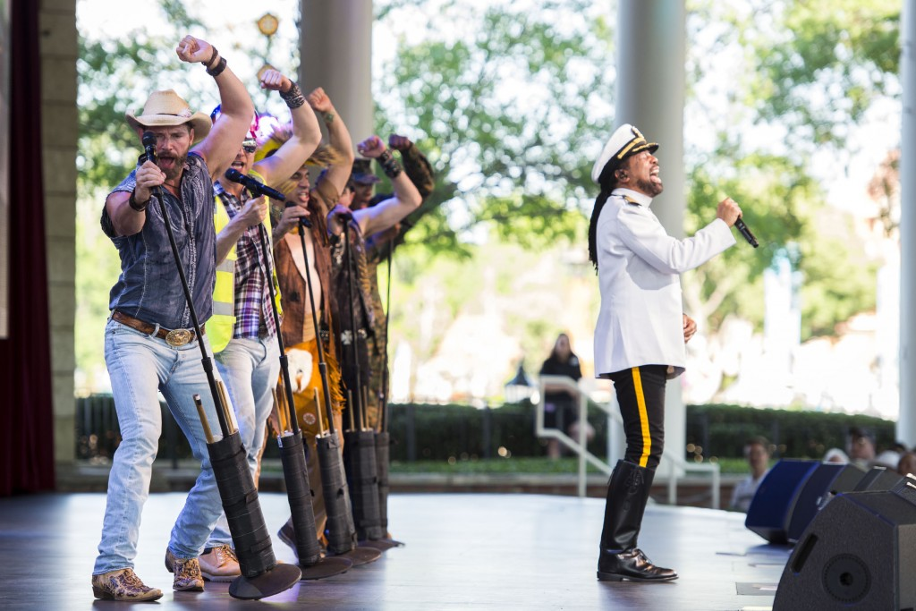 ©Disney Village People (ÒY.M.C.A.Ó) will perform March 25-27, 2016 at America Gardens Theatre during the 23rd Epcot International Flower & Garden Festival ÒGarden RocksÓ Concert Series. Thirteen pop bands with hits spanning several decades are featured throughout the 90-day festival with Friday, Saturday and Sunday performances included in Epcot admission. Epcot is located at Walt Disney World Resort in Lake Buena Vista, Fla. (Chloe Rice, photographer)